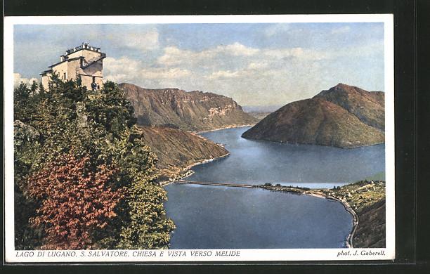 AK Melide, Chiesa e vista verso Malide, San Salvatore, Ortsansicht mit Seedamm