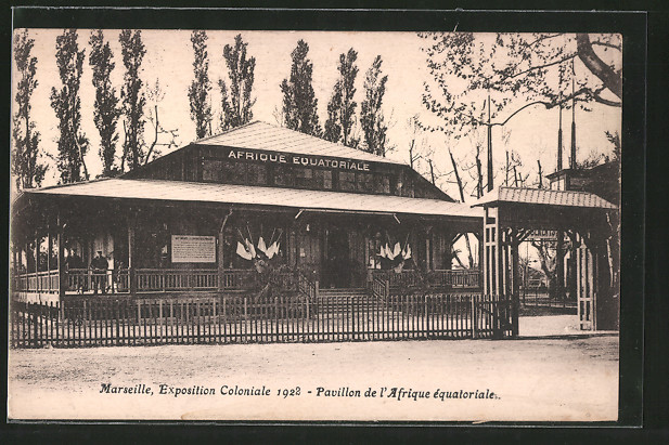AK Marseille, Exposition coloniale 1922, Pavillon de l'Afrique équatoriale
