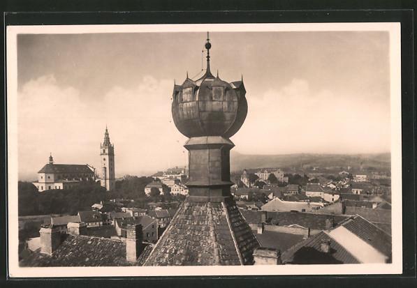 AK Leitmeritz / Litomerice, Blick vom Kelchhaus auf das Domgebiet