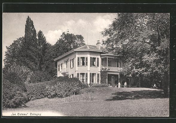 AK Cologny, Le Coteau Haus mit Bewohnern