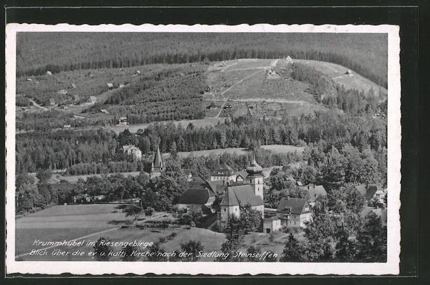 AK Krummhübel, Blick über die ev. & kath. Kirche nach der Siedlung Steinseiffen