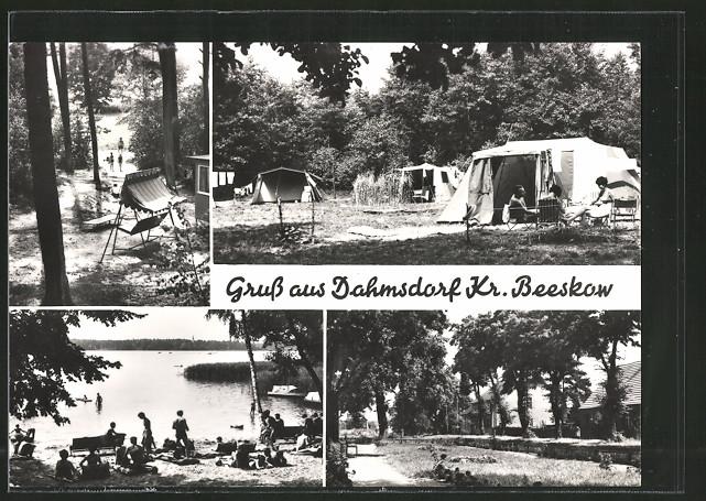 ak dahmsdorf campingplatz mit zelten hollywoodschaukel. Black Bedroom Furniture Sets. Home Design Ideas