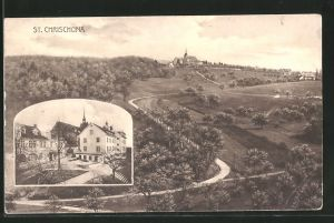AK St. Chrischona, Strassenpartie, Blick zur Kirche