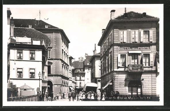 AK Moudon, Pont St. Éloi et Maison de ville, Hotel de la Poste