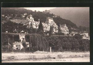 AK Territet, Les Jardins et l'Hôtel des Alpes