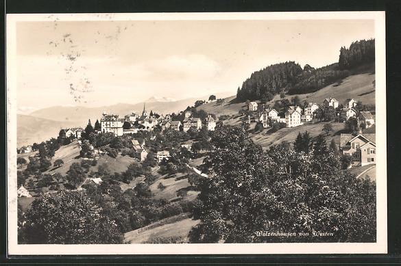 AK Walzenhausen, Blick zum Ort von Westen