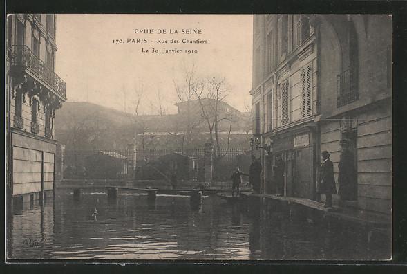 AK Paris, rue des Chantiers, crue de la Seine 1910, Hochwasser