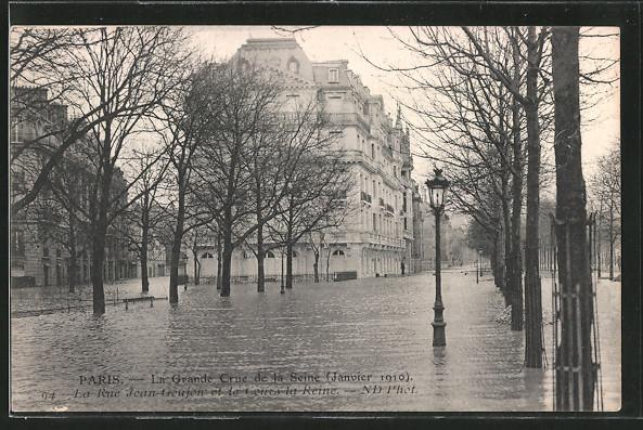 AK Paris, la rue Jean Goujon et le Cours la Reine, la grande Crue de la Seine 1910, Hochwasser