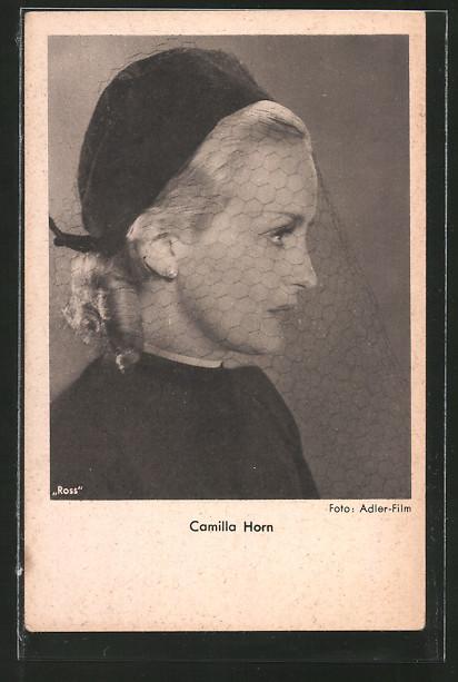 AK Schauspielerin Camilla Horn mit Schleier posierend