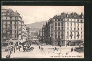 AK Geneve, La Rue du Mont-Blanc mit Passanten