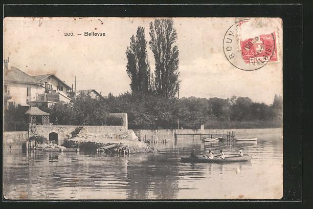 AK Bellevue, Ortspartie am See, Ruderboot