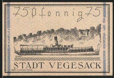 Notgeld Vegesack 1921, 75 Pfennig, Stadtwappen, Dampfschiff