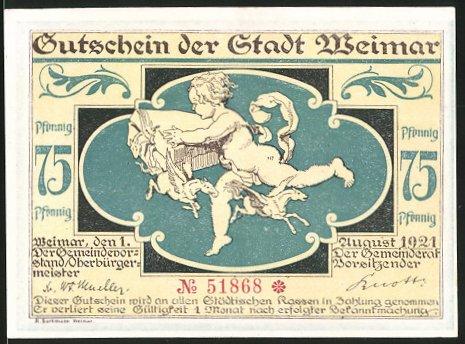Notgeld Weimar 1921, 75 Pfennig, Engel mit geflügelten Pferden, Sturm zieht über den Marktplatz