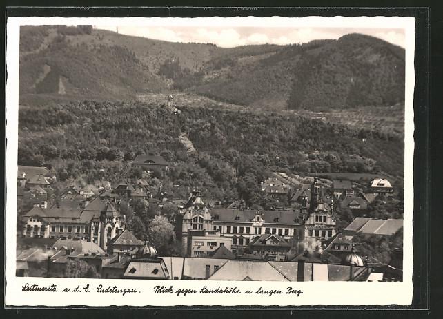 AK Leitmeritz / Litomerice, Blick vom Ort gegen Landahöhe u. langen Berg
