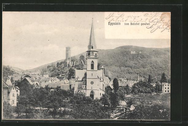 AK Eppstein, Ortsansicht vom Bahnhof gesehen mit Kirche und Burgruine