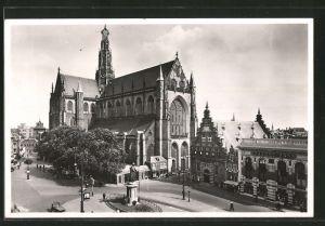 AK Haarlem, Groote of St. Bavokerk, Spaarne-Bank