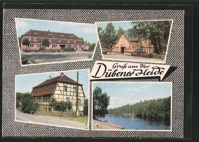 AK Bad Düben, HO-Gaststätte Rotes Haus, HO-Gaststätte Zum Wachtmeister, HO-Heidegaststätte Oppin