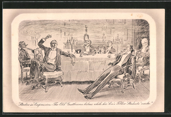 Künstler-AK Charles Dana Gibson No.808: Studies in Expression, The Old Gentleman listens while his Son's Fellow Students