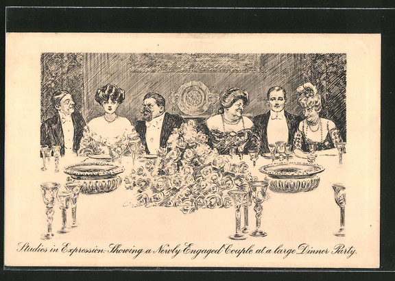 Künstler-AK Charles Dana Gibson: Studies in Expression, Showing a Newly Engaged Couple at a large Dinner Party