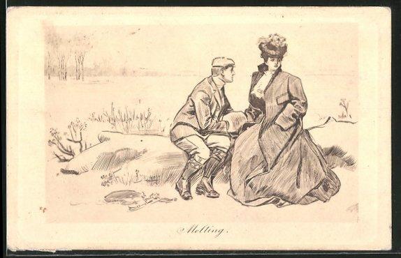 Künstler-AK Charles Dana Gibson: Melting, eine Frau im übergrossen Mantel neben ihrem Liebsten