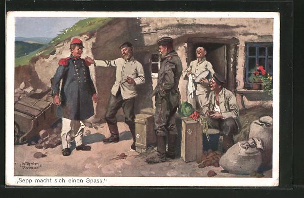 Künstler-AK Sepp macht sich einen Spass, deutscher Soldat überrascht Kameraden mit französischer Uniform