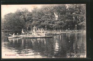 AK Franzensbad, Stadtteich mit Ruderbooten