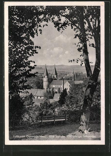 AK Gernrode, Blick auf die 1000jährige Stiftskirche