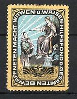 Reklamemarke Witwen-und Waisenhilfsfonds, Göttin mit Witwen und Waisen, Wappen
