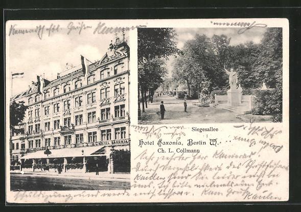 AK Berlin-Kreuzberg, Hotel Saxonia, Königgrätzer Strasse, Blick in die Siegesallee