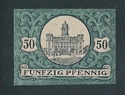Notgeld Zeulenroda 1920, 50 Pfennig, Stadtwappen, Schloss