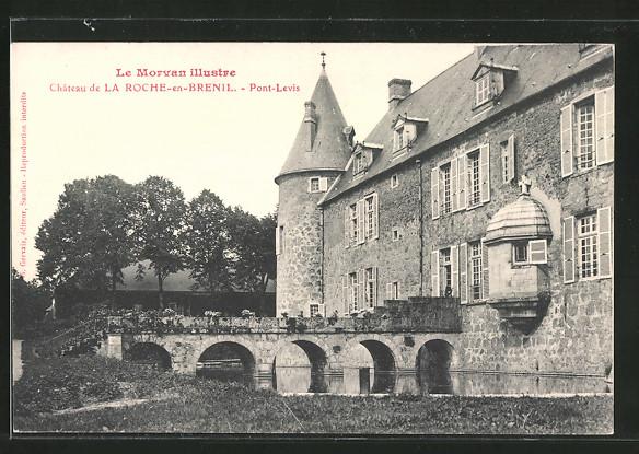 AK la Roche-en-Brenil, château, pont-levis