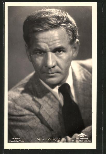 AK Schauspieler Attila Hörbiger im Anzug mit Krawatte