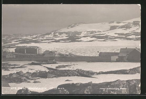 AK Finse, Bergensbanen, Blick zum Ort
