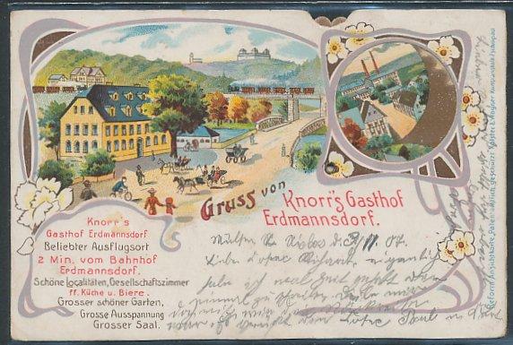 mechanische-Lithographie Erdmannsdorf, Knorrs Gasthaus, Viadukt mit Eisenbahn 0