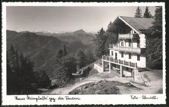 AK Waidring, Haus Steinplatte mit Blick gegen die Tauern