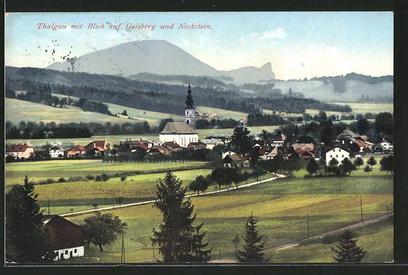 AK Thalgau, Ort mit Blick auf Gaisberg und Nockstein