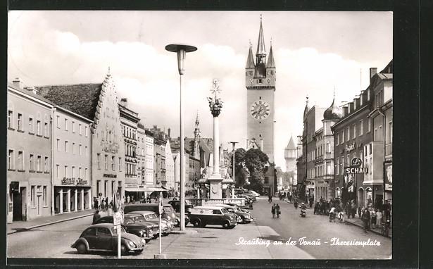 AK Straubing, Strassenpartie am Theresienplatz