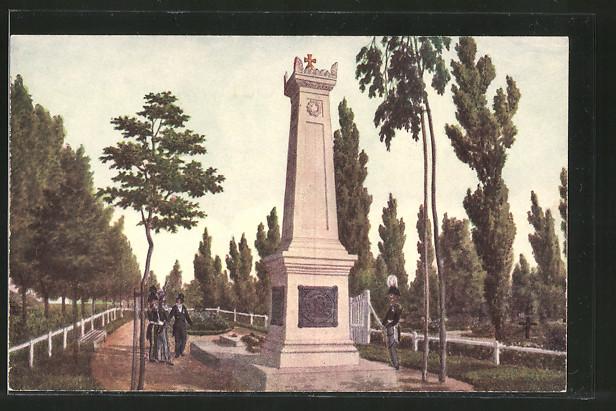 Künstler-AK Hamburg, Grabdenkmal der Hanseatischen Kampfgenossen auf d. Maria-Magdalenen-Kirchhof, Befreiungskriege