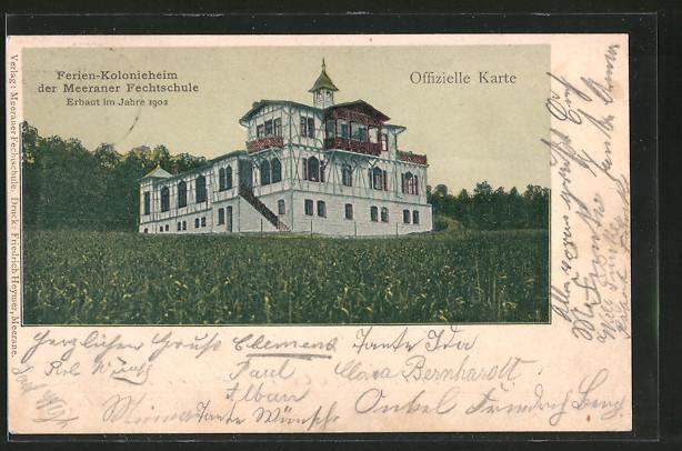 AK Meerane, Ferien-Kolonieheim der Meeraner Fechtschule, erbaut 1902