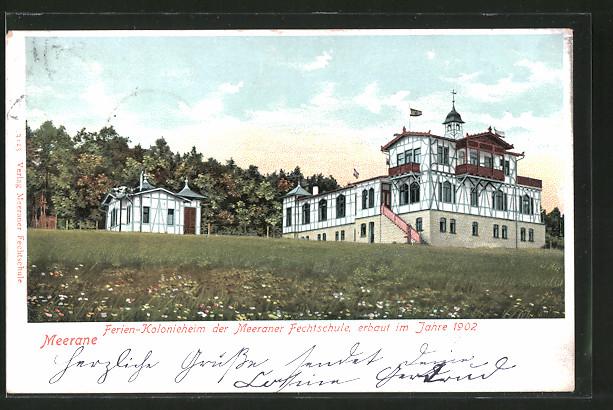 AK Meerane, Partie am Ferien-Kolonieheim der Meeraner Fechtschule, erbaut 1902