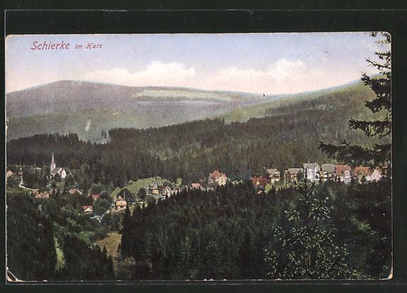AK Schierke, Ortsansicht von einem Hügel