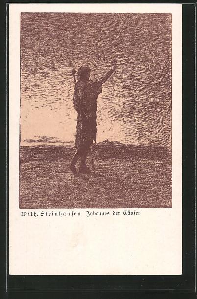 Künstler-AK Wilhelm Steinhausen: Johannes der Täufer, Jugendstil