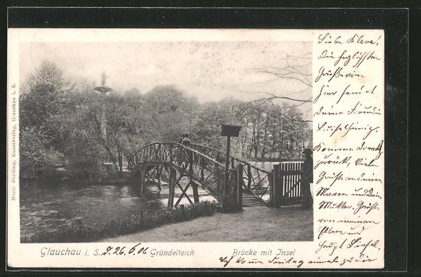 AK Glauchau, Gründelteich, Brücke mit Insel