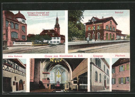 AK Kirchheim, Synagoge, Kriegerdenkmal mit Schulhaus & Kirche, Bahnhof, Altes Rathaus, Pfarrhaus 0