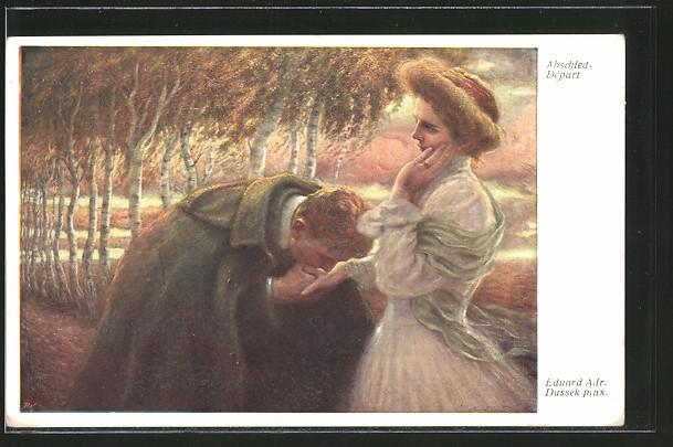 Künstler-AK Eduard Adrian Dussek: Mann küsst zum Abschied seiner Geliebten die Hand