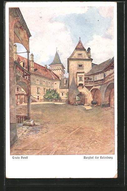 Künstler-AK Erwin Pendl: Rosenburg, Burghof