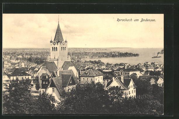 AK Rorschach, Gesamtansicht der Stadt am Bodensee