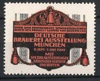 Reklamemarke München, Deutsche Brauerei-Ausstellung 1909, Münchner Kindl