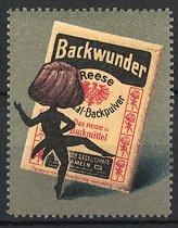 Reklamemarke Reese's Backpulver, Hameln, Kuchen und Packung Backpulver