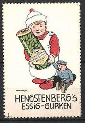 Künstler-Reklamemarke J. Mauder, Hengstenbergs Essig-Gurken, Junge mit Spielzeugpuppe und Glas Essiggurken